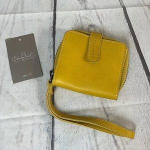 """Anthropologie Yellow Leather Wristlet Wallet 4"""""""